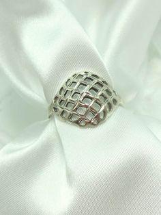 Sterling Silver Ring Domed Basket Weave Design