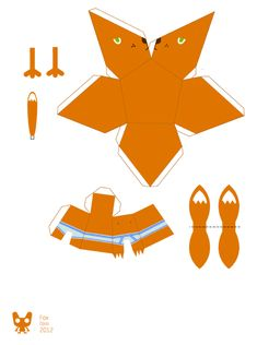 Blog Paper Toy papertoy Fox template preview Fox Papertoy de Opos Szczepan