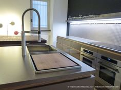 attika kitchen sink BLANCO covered side view with faucet | The Decorating Diva, LLC
