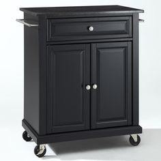 Black Mobile Kitchen Cart Island with Granite Top with Locking Casters - Quality House