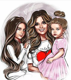 Mother And Daughter Drawing, Mother Daughter Pictures, Mom Daughter, Mom And Dad, Cute Couple Art, Cute Couples, Cute Bunny Cartoon, Girly M, Diy Barbie Clothes