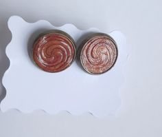 Spiral Earrings Hand Stamped Polymer Clay by ClaycatBijou Celtic Spiral, Hand Stamped, Polymer Clay, Unique Jewelry, Handmade Gifts, Earrings, Etsy, Kid Craft Gifts, Ear Rings
