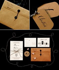 Black & Brown Calligraphy Stationery #fall #camillestyles #kraft paper
