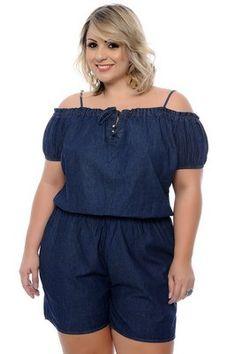 Macaquinho Jeans Plus Size Gabrielli – Plus Size Models Plus Size Jeans, Plus Size Romper, Looks Plus Size, Curvy Plus Size, Plus Size Model, Curvy Outfits, Plus Size Outfits, Fashion Outfits, Plus Size Fashion For Women