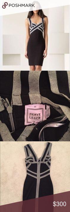 Herve Leger Dress Grey and Black Tight Herve Leger Dress. Excellent condition. Herve Leger Dresses Mini