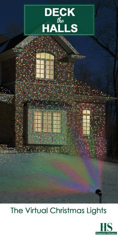 The Virtual Christmas Lights - This outdoor projector casts thousands of bulb-like dots of colorful light onto a house and landscaping to create festive holiday illumination. Available only from Hammacher Schlemmer, the projector displays a medley of red, green, and blue light (or solid green, red, or blue) spanning up to 2,500', making any home look as if it's decorated with thousands of Christmas lights.