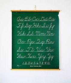 Vintage School Cursive Alphabet Chart.