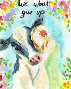 Vegan Art - Cow Art - Watercolor Cow - Vegan Home Decor - Vegan Gift - Vegan Print - Animal Lover Gift - Cow Wall Art - Gift for Vegan - DIY/dessin - Cow Wall Art, Cow Art, Activist Art, Animal Agriculture, Art Watercolor, Vegan Animals, Farm Animals, Vegan Blogs, Vegan Recipes