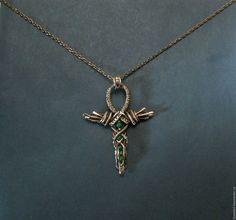 Ankh pendant. Анкх  египетский крест кулон медный с хризопразом - зеленый, анкх, египетский крест, крест