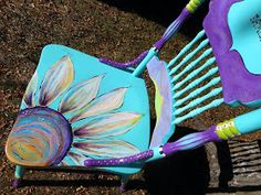 old chairs decorate old furniture spice upcycling ideas diy ideas deco ideas craft ideas 35 Hand Painted Chairs, Whimsical Painted Furniture, Hand Painted Furniture, Funky Furniture, Paint Furniture, Furniture Makeover, Furniture Stores, Painted Tables, Refinished Furniture