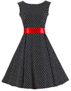 Women's Vintage Cotton A Line Dress - Polka Dot Black & Red Women's A Line Dresses, Knee Length Dresses, Dresses With Sleeves, Dresses Dresses, Vintage Ball Gowns, Vintage Dresses, Cocktail Bridesmaid Dresses, Modelos Plus Size, Belted Dress