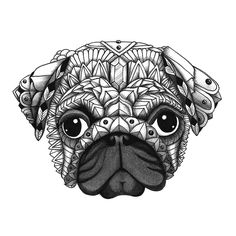 "Ornate Pug from the upcoming ""Decorative Dogs"" coloring book. Get free printable…"