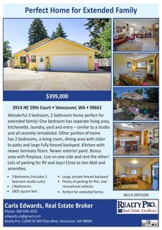 New Listing! Real Estate for Sale: $399,000-3 Bd/2 Ba Wonderful One Level Minnehaha Home Perfect for Extended Family Living on Large .24 Acre Fully Fenced Lot at: 3914 NE 59th Ct, Vancouver, Clark County, WA! Area 15. RMLS 20051609. Listing Broker: Carla Edwards (360) 936-3635, Realty Pro, Vancouver, WA! #newlisting #realestate #Vancouverrealestate #minnehaharealestate #onelevelrealestate #ExtendedFamilyLiving #CarlaEdwards #RealtyPro