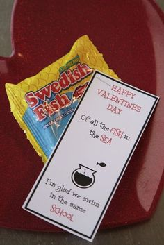 Print card and divy up swedish fish or goldfish (from bulk package) and staple c  Valentines Ideas
