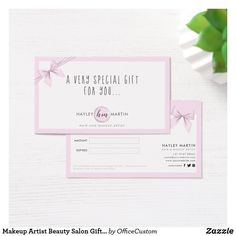 Shop Makeup Artist Beauty Salon Gift Certificates created by OfficeCustom. Hair And Makeup Artist, Beauty Makeup, Freelance Makeup Artist, Customizable Gifts, Monogram Styles, Gift Certificates, Special Gifts, Holiday Cards, Salons
