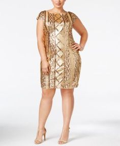 Adrianna Papell Plus Size Sequin Sheath Dress $199.00 Add shimmer to your night in this plus size sequin sheath dress by Adrianna Papell.