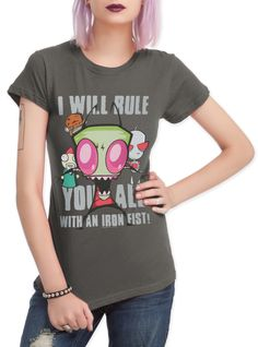 "Obey the fist! Fitted grey tee with Zim design that reads ""I Will Rule You All With An Iron Fist!"""