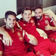 Isco Alarcón, Iker Casillas and Dani Carvajal - SpainNT First Football, Football Love, Real Madrid, Isco Alarcon, European Soccer, Man Crush Everyday, Soccer Boys, Soccer Players, Gorgeous Men