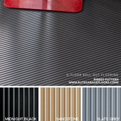 G Floor Ribbed Pattern Roll Out Vinyl Floor Covering. Comes in Black, Sandstone, or Grey. Made in USA, lifetime manufacturer warranty. Garage Floor Mats, G Floor, Vinyl Floor Covering, Vinyl Flooring, Usa, Grey, How To Make, Pattern, Black