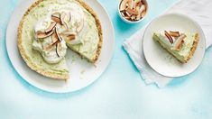 No-Bake Avocado Lime Pie. Avocado takes a walk on the sweet side as the star ingredient in this rich and creamy twist on a key lime pie. Food Terms, Toasted Coconut Chips, Lime Pie Recipe, Baked Avocado, Cheese Fruit, Clean Eating Desserts, Paleo Baking, Light Desserts, Key Lime Pie