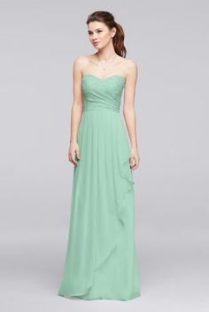 This long bridesmaid dress has a sweet appeal thanks to its sweetheart neckline, pleated lace bodice, and cascading ruffle on the chiffon skirt.  Polyester, rayon, nylon  Back zipper; fully lined  Dry clean  Imported