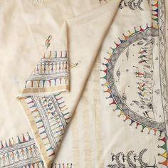 Orissa Beige Tussar Silk Handpainted Saree with Multicolor Saura Motif Worli Painting, Saree Painting, Kalamkari Painting, Fabric Painting, Fabric Art, Madhubani Painting, Embroidery Neck Designs, Hand Work Embroidery, Fabric Paint Designs