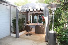 The outdoor cabana at the Jonathan and George Salon in Beverly Hills, CA.
