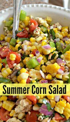 Corn Salad Recipes, Corn Salads, Healthy Salad Recipes, Vegetarian Recipes, Cooking Recipes, Corn Salad Recipe Easy, Fruit Salads, Salads For Bbq, Summer Salad Recipes