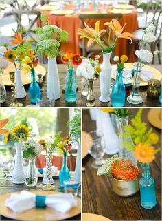 Blue, orange, yellow and other bright colors. These types of displays only work with narrow, I mean narrow, containers such as bud vases. Festive wedding idea from weddingchicks.com.