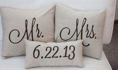 Mr. & Mrs. Custom Pillow with Wedding Date