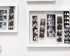 Photo strips in floating frames, via Yellow Brick Home