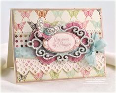 You are in my Prayers die cut card...Spellbinders dies: Fancy Tags Two and a Petite Ovals Large. The Fancy Tags Two die cut pairs perfectly with the Want2Scrap Fancy Tags Two Nestaboard and Fancy Tags Two White Pearl Nestabling, making it simple to cover the chipboard with patterned paper as well as to add customized bling. (Other Spellbinders dies that I used were from Labels Fourteen and Lace Doily Accents.)