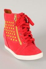 Pink Duchess Steve-8 Studded Zipper Lace Up Wedge Sneaker