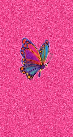 Pink Glitter Colorful Butterfly iPhone Wallpaper