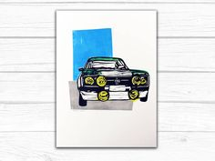 Rally Car Lino Print - Limited Edition
