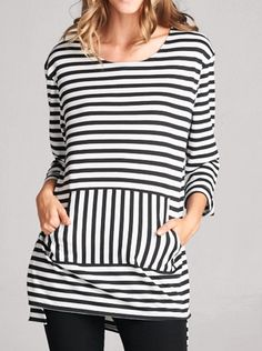 Front Pocket Stripe Tunic with Slits