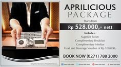 It's APRILICIOUS  !!!  What is Aprilicious???  Well, here's how it goes ; you will get an affordable price for room rate complete with a lot of delicious food and beverage promotions and then it rolls up into one fantastic package deal of pleasure !!!  With a very great offer STARTS FROM Rp 528.000,-NETT in the month of Aprilicious, we'll be treating you to all kinds of surprises and Apriliciously delicious for you ...
