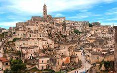 Download wallpapers Matera, old town, city in the rock, Basilicata, Apulia, Italy, UNESCO, Sassi di Matera
