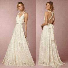 2016 Cheap Elegant Wedding Dresses Deep V Neck Full Lace Backless Wedding Gowns Vintage Long Boho Beach Bridal Dress Custom Made
