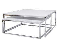 Set di 2 tavolini in metallo e mdf Everly bianco/argento