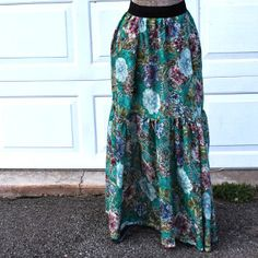 Long Patterned Peasant Skirt tut with direction for own pattern construction