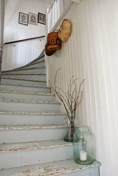 Beadboard on the walls ,and weathered blue on the stairs would be awesome too.