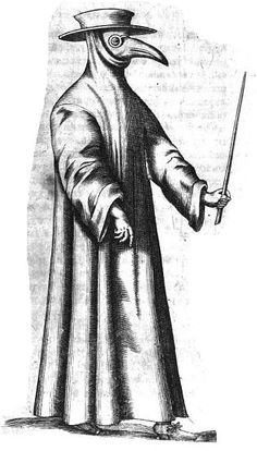 Thomas Bartholini's illustration of plague doctor from 1661. Via Wikipedia.
