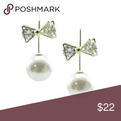 Sale!! 💜🌸🎀Bow and pearl earrings 18k plated earrings.  Glass crystal accents in bows!!!  Nickel and lead free.           Lightweight.                                                              Pearls slide on the back for a stunning look.         No trades, all offers considered 🎀🎀 T&J Designs Jewelry Earrings