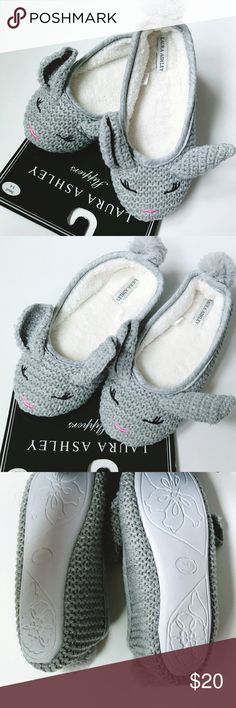 NWT Laura Ashley Bunny Ballet Slippers NWT Laura Ashley bunny slippers. Adorable ballet slippers for wearing around the house. These are knit. These are a size small, 5-6. There have been packed away in my closet, so the soles ay not be as white anymore. Laura Ashley Shoes Slippers