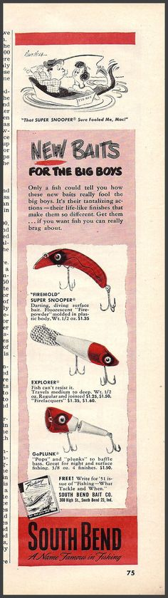1951 South Bend fishing lures ad.