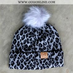 6e0a88a7a7a Leopard Print Beanie with Pom Pom in Charcoal Grey