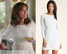 Devious Maids: Season 3 Episode 3 Genevieve's White Draped Dress