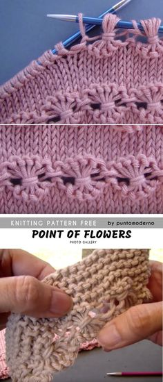 Point of Flowers Knitting Free Pattern and Tutorial