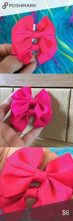 •FREE WITH $20+ purchase• 2 Hot Pink Hair Bows• Supplies multiple pictures because it's hard to capture true color. They are a hot pink  Love Me Accessories Hair Accessories